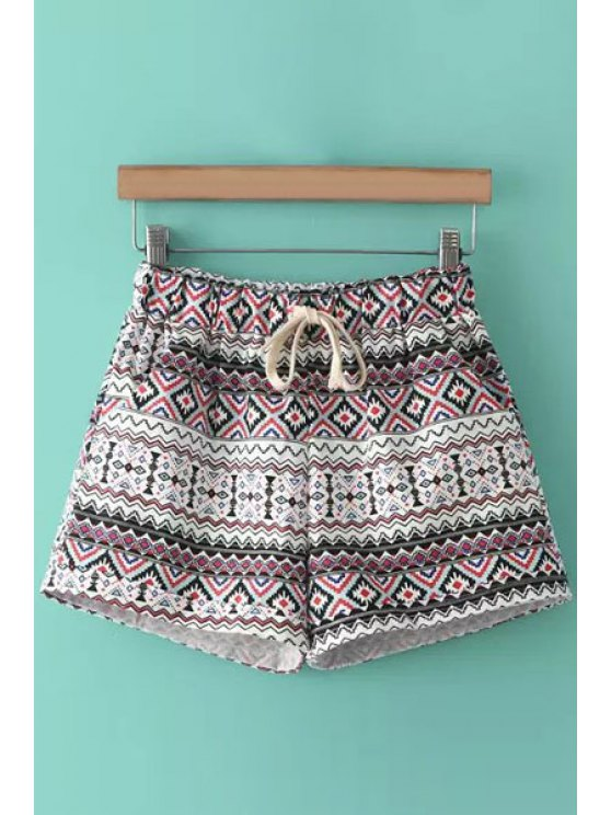 fancy Deer Print Argyle Waist Drawstring Shorts - RED ONE SIZE(FIT SIZE XS TO M)