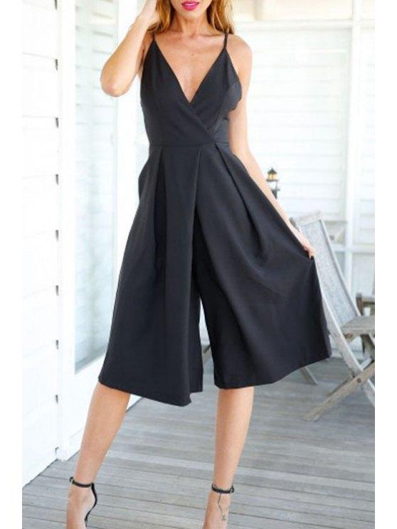 shops Deep V Neck Backless Solid Color Wide Leg Jumpsuit - BLACK S