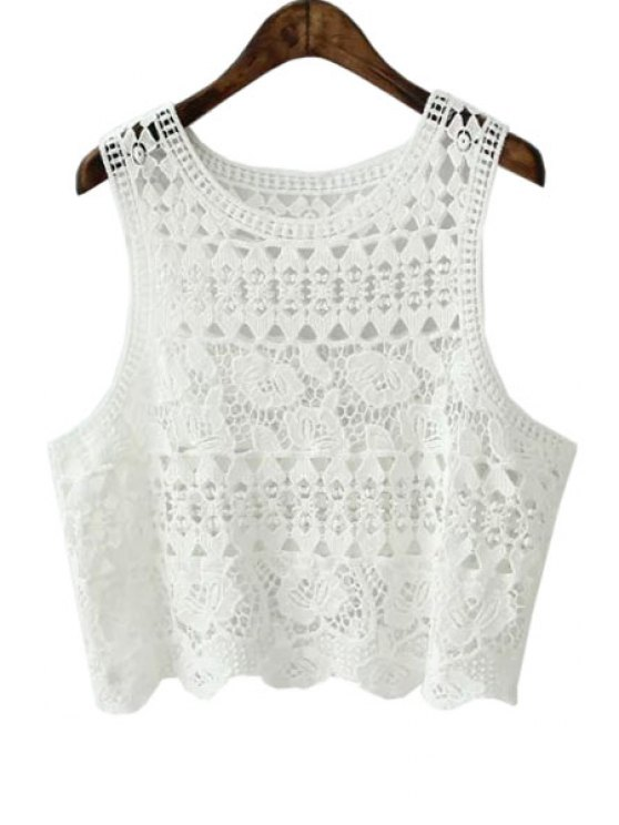 outfits White Crochet Scoop Neck Tank Top - WHITE S