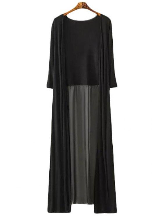 fashion Chiffon Spliced Long Sleeve Cardigan - BLACK ONE SIZE(FIT SIZE XS TO M)
