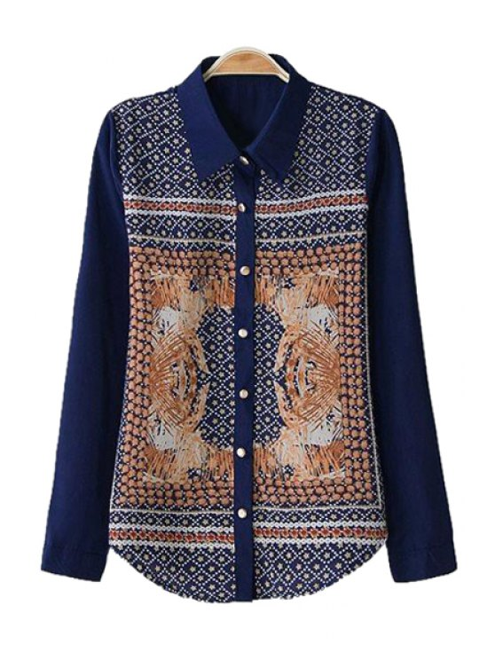 chic Star Polka Print Long Sleeve Shirt - PURPLISH BLUE S