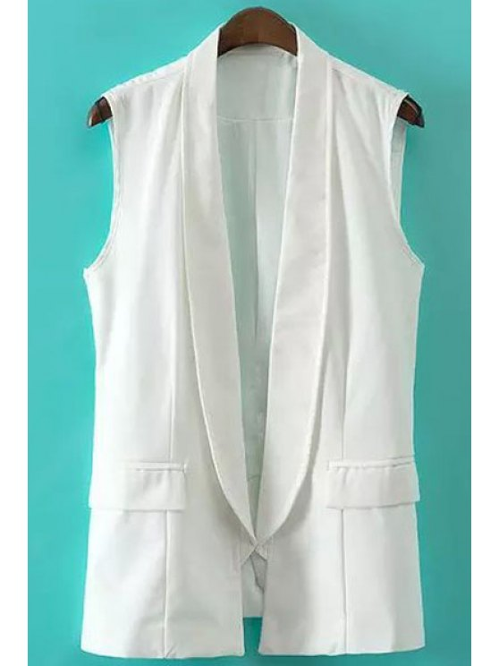 online Solid Color Shawl Collar Waistcoat - WHITE S