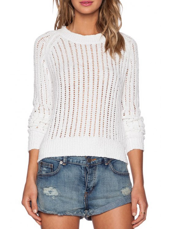 outfits Hollow Out Knitted White Sweater - WHITE ONE SIZE(FIT SIZE XS TO M)