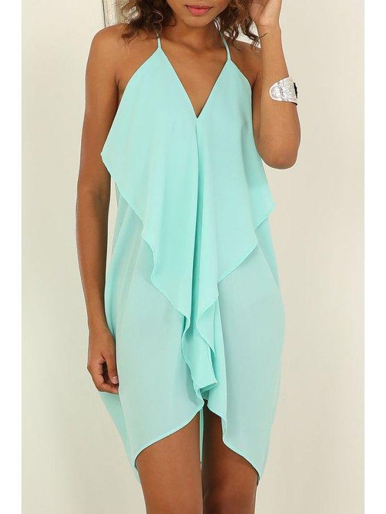chic Blue Spaghetti Strap Backless Dress - BLUE S