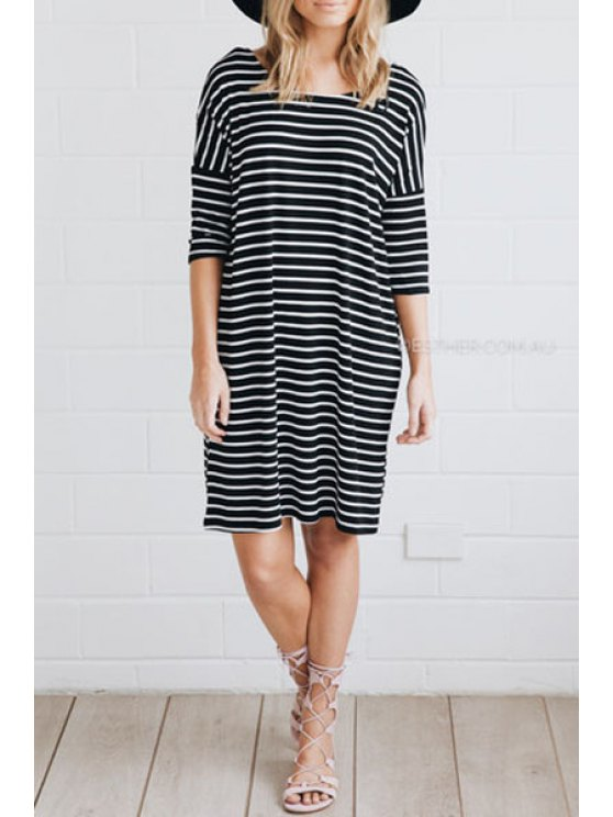 shop Black Half Sleeve Striped T-Shirt Dress - STRIPE S