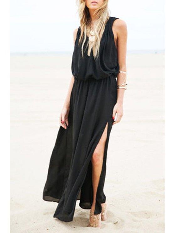 womens Black Split Sleeveless Maxi Dress - BLACK L