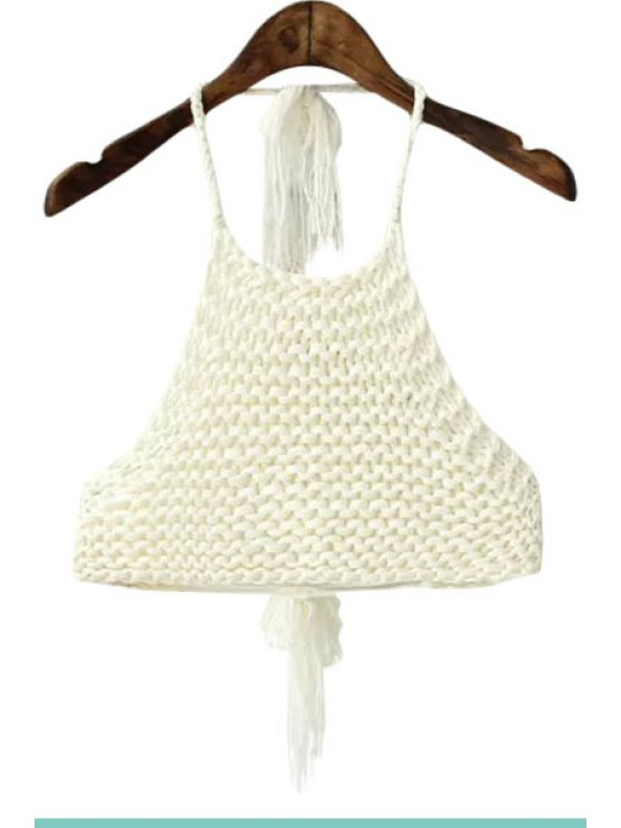 fashion Crochet Halterneck Solid Color Crop Top - WHITE ONE SIZE(FIT SIZE XS TO M)