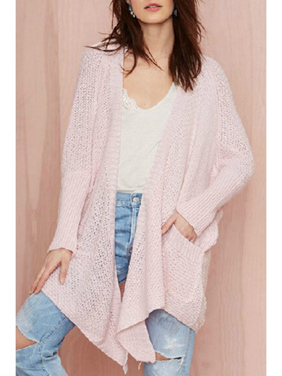 fashion Pocket Design Asymmetrical Pink Cardigan - PINK ONE SIZE(FIT SIZE XS TO M)