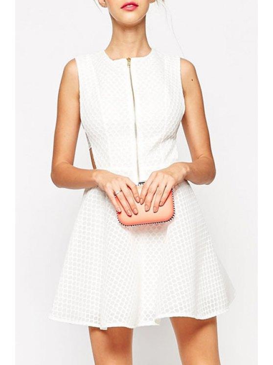 affordable White Sleeveless Flare Zipper Dress - WHITE S
