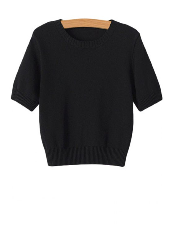 fancy Solid Color Short Sleeves Sweater - BLACK S