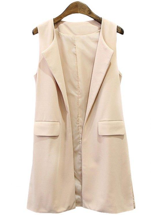fancy Solid Color Pocket Design Waistcoat - PINK S