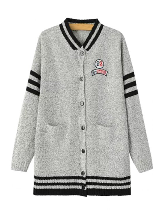women's Stripe Figure Letter Embroidery Long Sleeve Cardigan - GRAY ONE SIZE(FIT SIZE XS TO M)