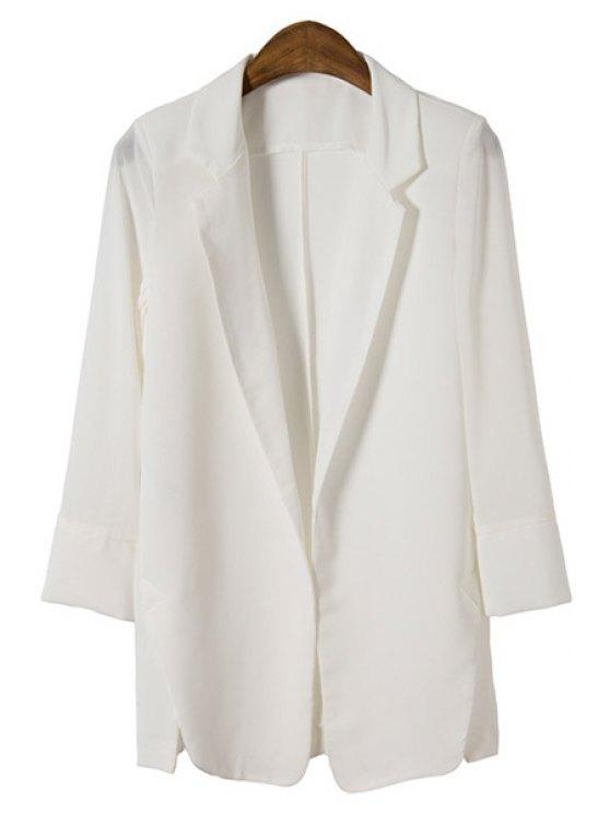 hot Candy-Colored All-Match Chiffon Blazer - WHITE S