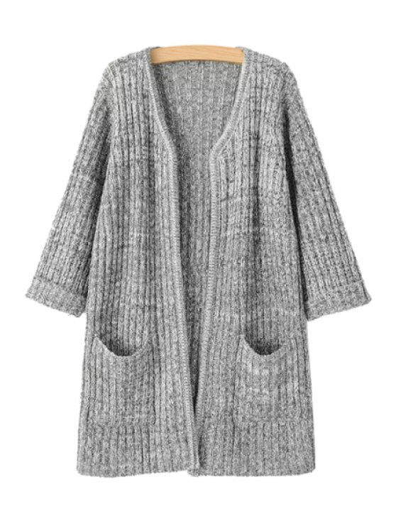 outfit V-Neck  Pocket 3/4 Sleeve Cardigan - LIGHT GRAY ONE SIZE(FIT SIZE XS TO M)