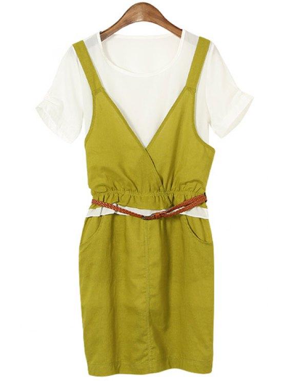 new Color Block Pocket Design Women's Dress With Belt - GREEN M