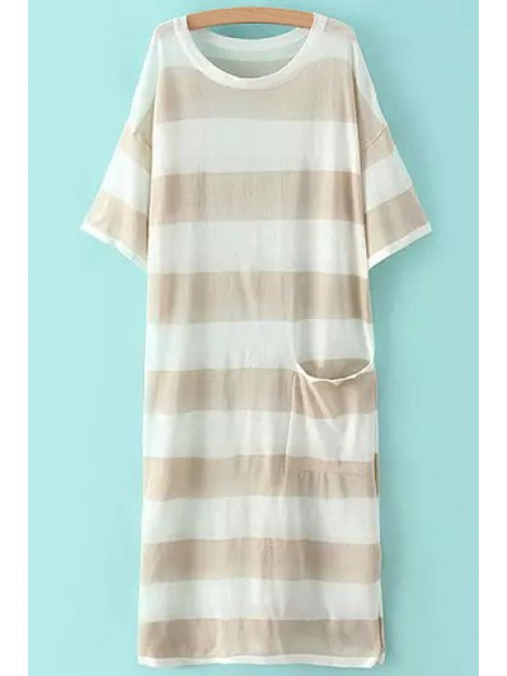buy Stripe See-Through Pocket Short Sleeve Dress - KHAKI ONE SIZE(FIT SIZE XS TO M)