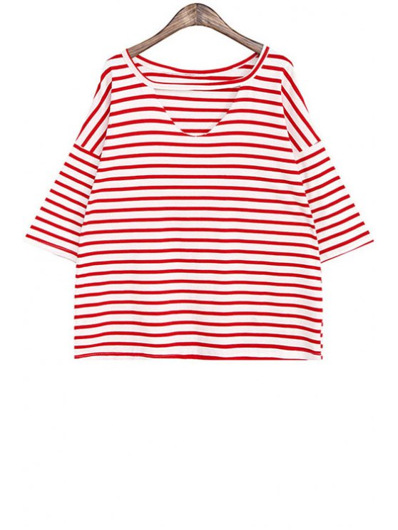 affordable Stripe Hollow Out Half Sleeve T-Shirt - RED ONE SIZE(FIT SIZE XS TO M)
