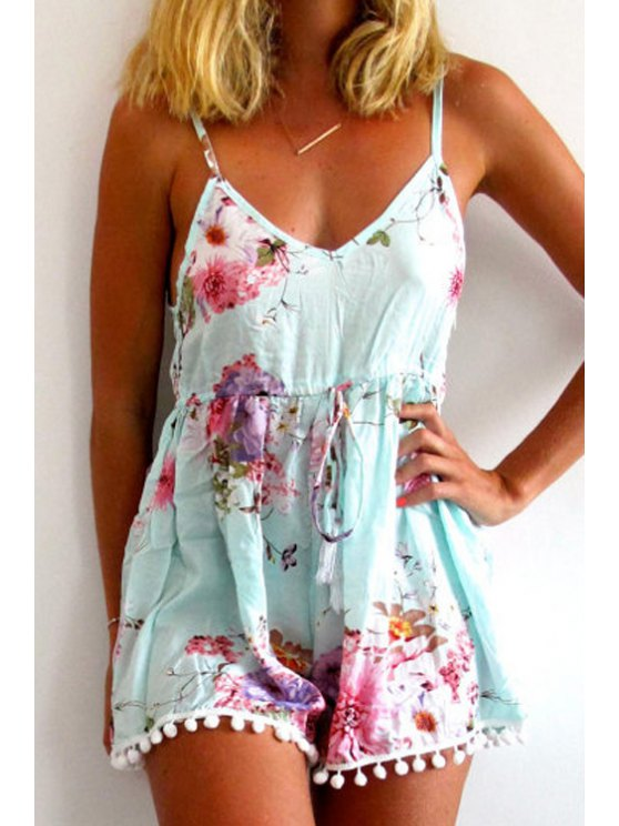 affordable Spaghetti Strap Floral Print Laciness Open Back Romper - BLUE S