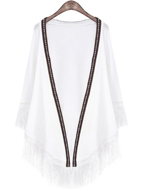 new Embroidery Edging Fringe Long Sleeve Cardigan - WHITE ONE SIZE(FIT SIZE XS TO M)