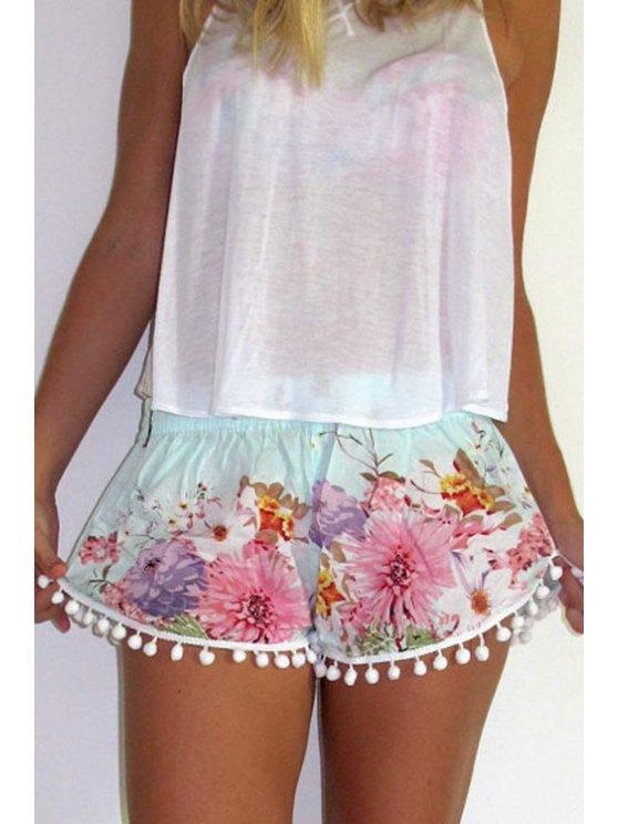 women Straight Leg Floral Print Laciness Shorts - COLORMIX S