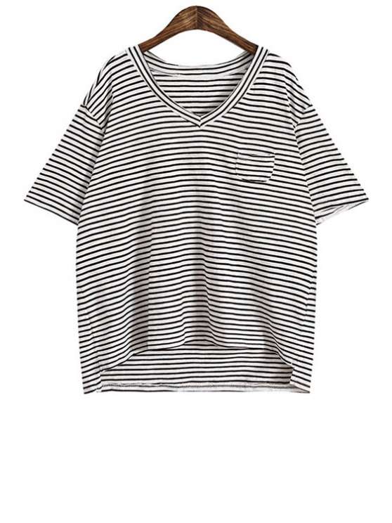 women V-Neck Stripe Pocket Short Sleeve T-Shirt - BLACK ONE SIZE(FIT SIZE XS TO M)