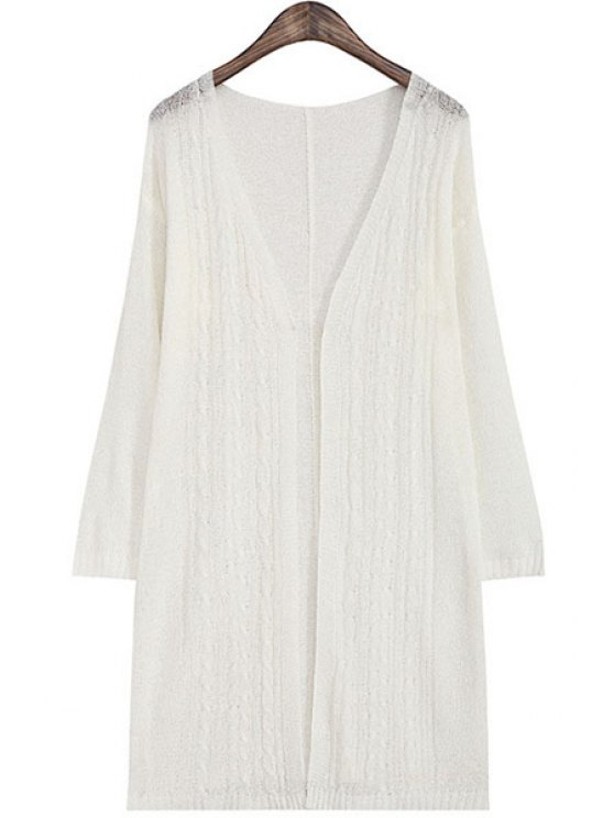 shop V Neck Solid Color Long Sleeve Cardigan - WHITE ONE SIZE(FIT SIZE XS TO M)