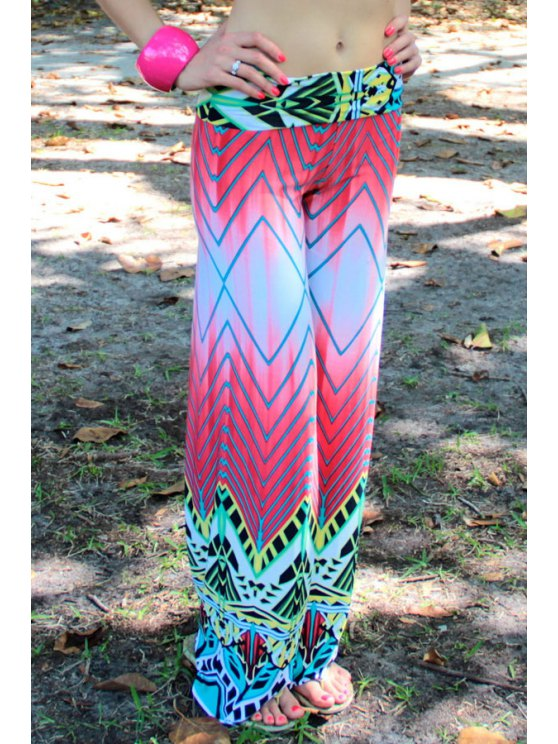 affordable Chevron Stripes Wide Leg Colored Pants - COLORMIX S