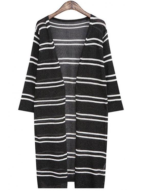trendy V Neck Stripe Half Sleeve Cardigan - BLACK ONE SIZE(FIT SIZE XS TO M)