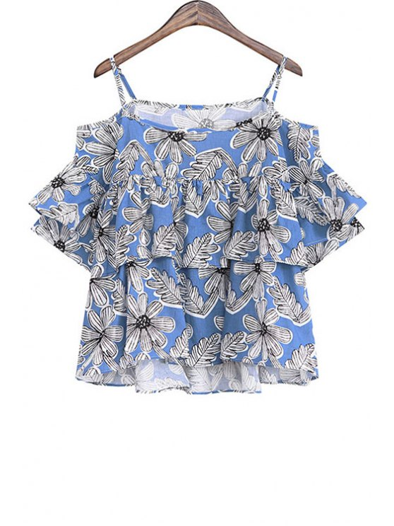 unique Spaghetti Strap Floral Print Multi-Layered T-Shirt - BLUE ONE SIZE(FIT SIZE XS TO M)