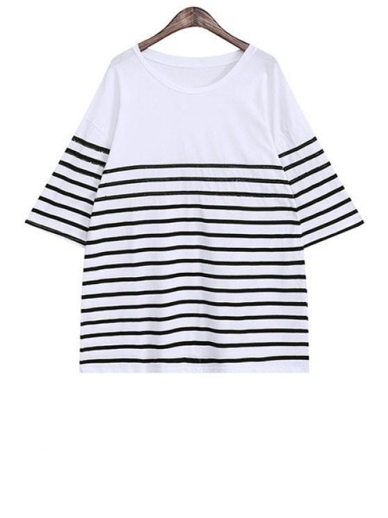 buy Sequins Stripe Half Sleeve T-Shirt - BLACK ONE SIZE(FIT SIZE XS TO M)
