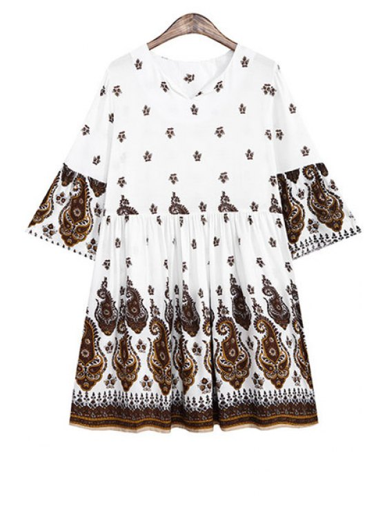 lady V Neck Tiny Floral Print Ruffle Half Sleeve Dress - COFFEE ONE SIZE(FIT SIZE XS TO M)