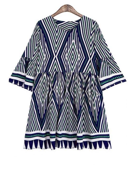shops V Neck Argyle Stripe Half Sleve Dress - BLUE AND GREEN ONE SIZE(FIT SIZE XS TO M)