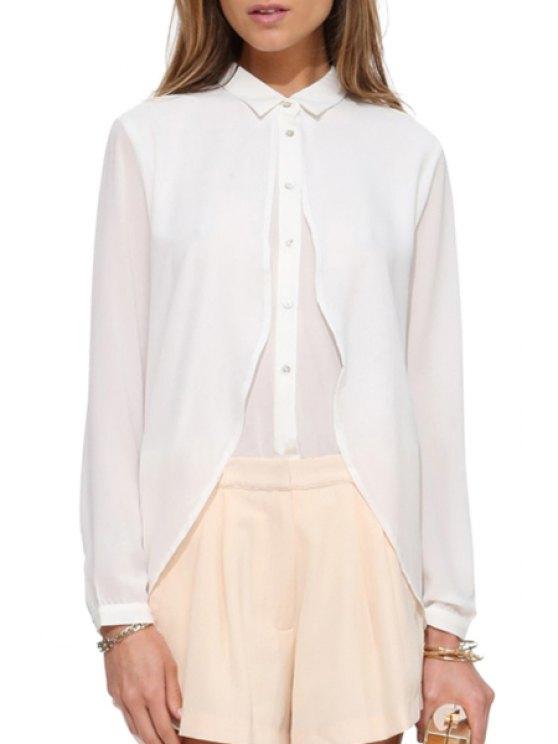 online Ruffle Spliced Long Sleeve Shirt - WHITE XL