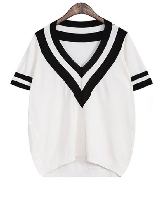 affordable V Neck Color Block Stripe Short Sleeve Sweater - WHITE ONE SIZE(FIT SIZE XS TO M)