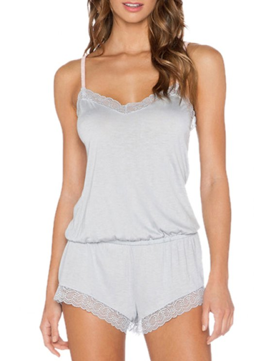 shop Light Gray Spaghetti Straps Playsuit - LIGHT GRAY S