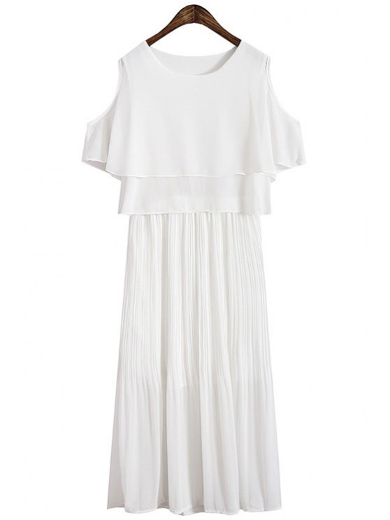 lady Multi-Layered Short Sleeve Pleated Dress - WHITE ONE SIZE(FIT SIZE XS TO M)