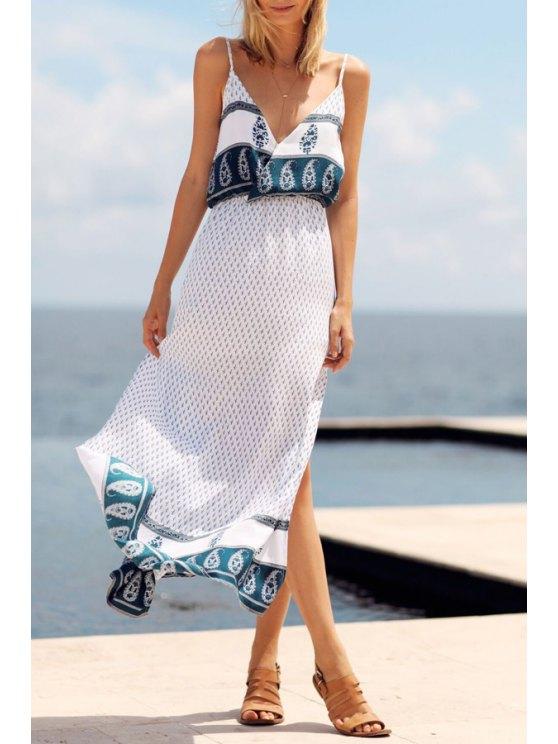 new Paisley Print High Slit Backless Maxi Dress - WHITE S