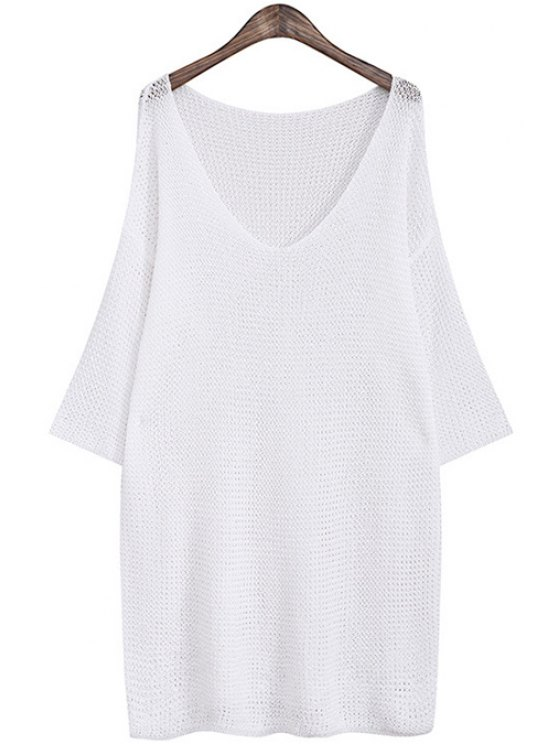 shops Solid Color See-Through 3/4 Sleeve Dress - WHITE ONE SIZE(FIT SIZE XS TO M)