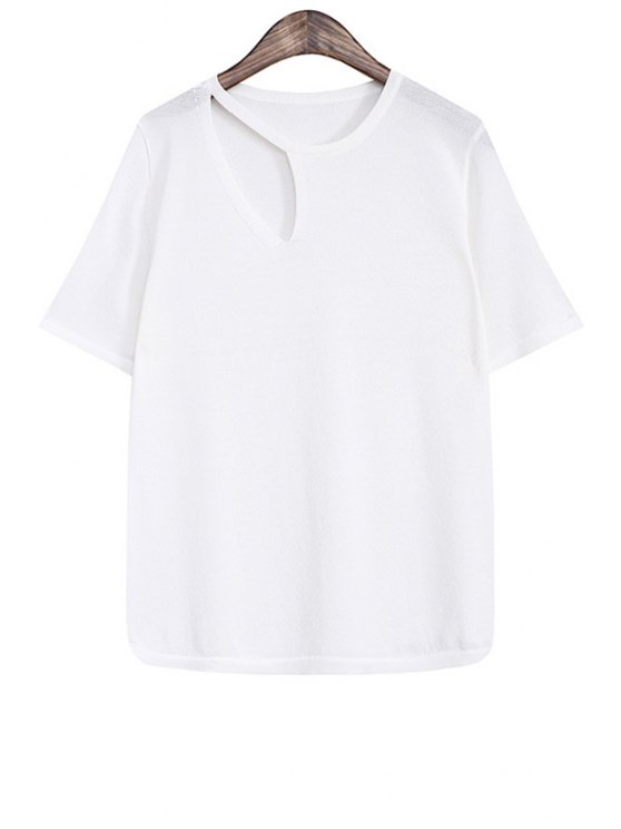fashion Hollow Out Solid Color Short Sleeve Sweater - WHITE ONE SIZE(FIT SIZE XS TO M)