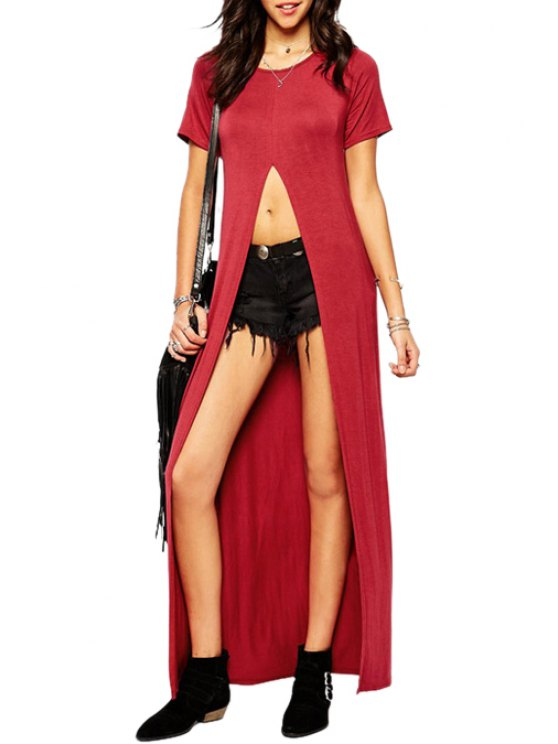 fancy Wine Red Short Sleeve Maxi T-Shirt - WINE RED S
