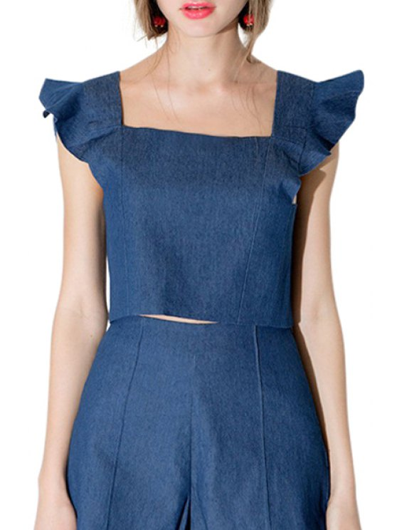 best Blue Denim Square Neck Crop Top - BLUE S