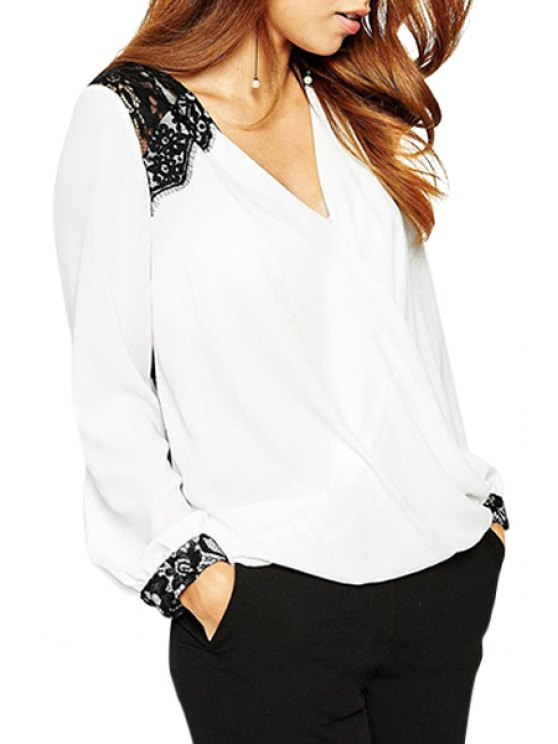best Lace Splicing V Neck Long Sleeve Shirt - WHITE S