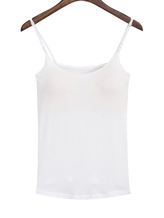 best Spaghetti Strap Solid Color Padded Tank Top - WHITE ONE SIZE(FIT SIZE XS TO M)
