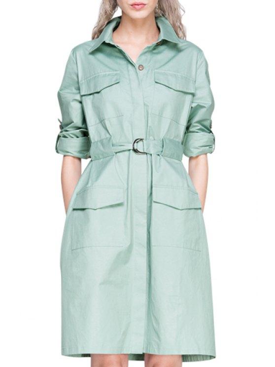chic Light Green Shirt Neck Long Sleeve Dress - LIGHT GREEN S