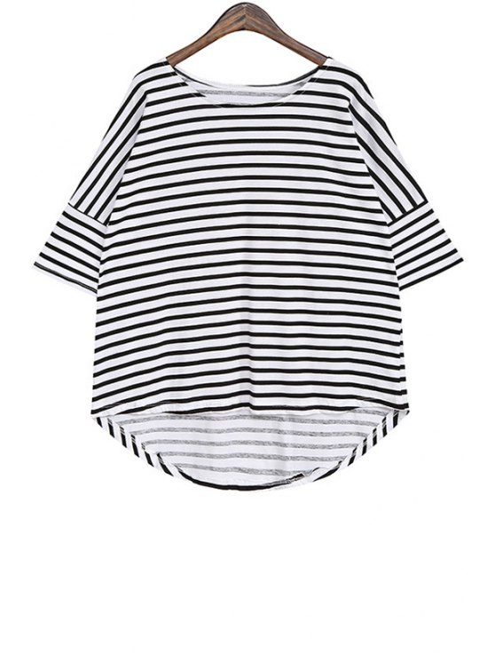 women Stripe Asymmetrical Short Sleeve T-Shirt - BLACK ONE SIZE(FIT SIZE XS TO M)