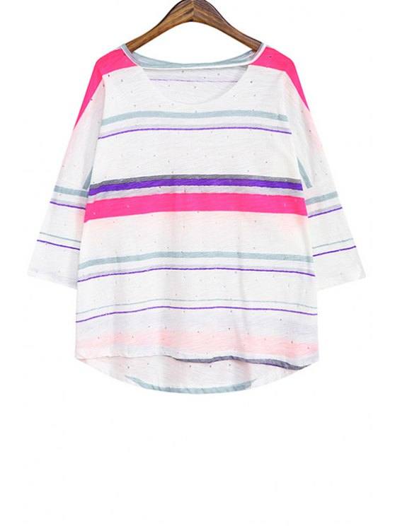 fashion Color Block Striped Cut Out T-Shirt - ROSE ONE SIZE(FIT SIZE XS TO M)