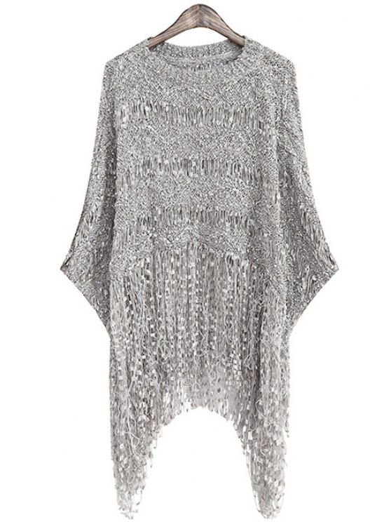 womens Fringe Openwork Long Sleeve Sweater - GRAY ONE SIZE(FIT SIZE XS TO M)