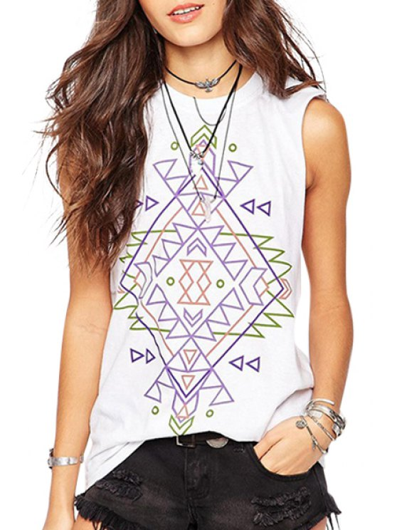 affordable Geometric Print Round Neck Tank Top - WHITE S