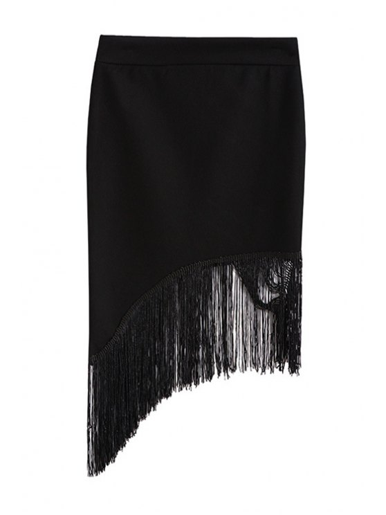 sale Black Asymmtrical Tassels Spliced Midi Shirt - BLACK ONE SIZE(FIT SIZE XS TO M)