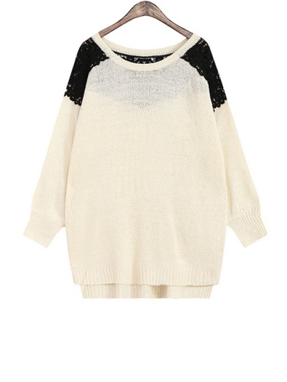 online Lace Spliced Hollow High Low All-Match Sweater - APRICOT ONE SIZE(FIT SIZE XS TO M)
